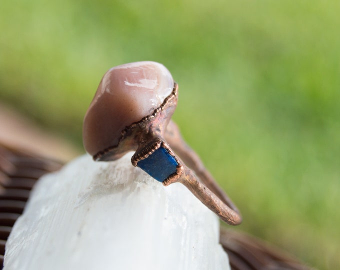 Large Botswana Agate and Lapis Lazuli Ring - Pure Copper Electroform ring size 9 - Handmade artisan jewelry Healing stones