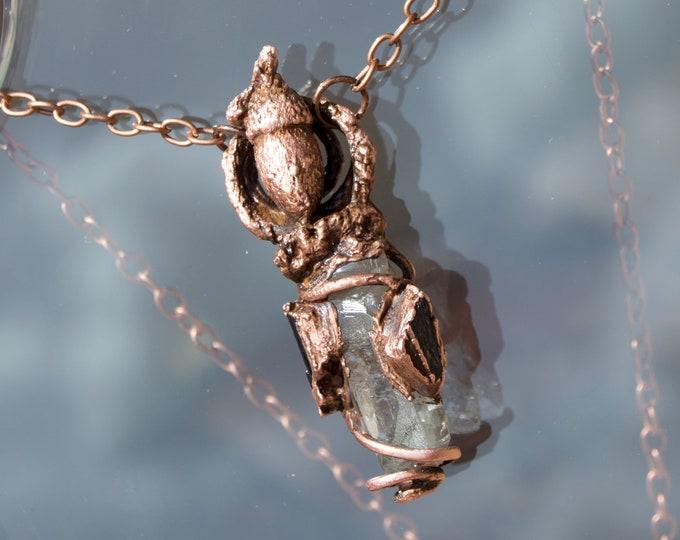 Sea Oak Acorn Pendant with Tibetan Quartz, Hawks Eye, Black Tourmaline - Copper Electroform Necklace Real Acorn