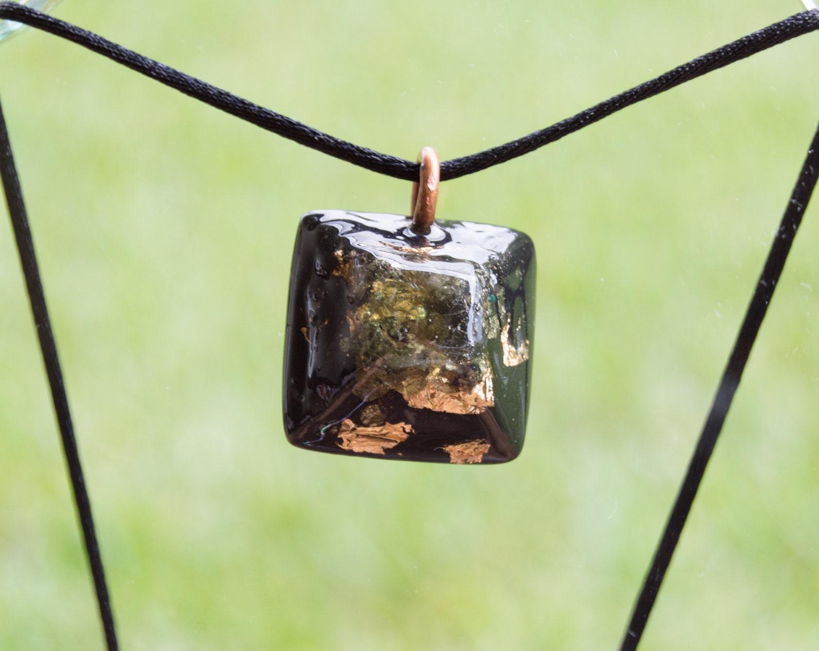 Orgonite® Moldavite Pendant - Orgone Necklace - EMF Sheild