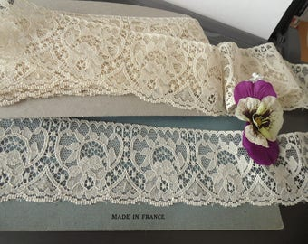 Ecru French Calais lace from the 1970's VINTAGE 2 m 20