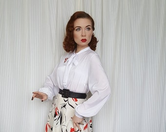 1437a680d583d6 Vintage 1940s 1950s style pussybow bishop sleeve blouse - vintage 80s does  40s 50s bishop sleeve shirt - vintage bow shirt - UK 12-16