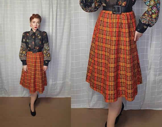 Vintage 1940s 1950s style A line tartan plaid chec