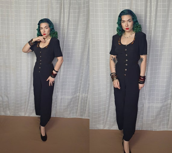Vintage 1940s 1950s style black jumpsuit with ambe