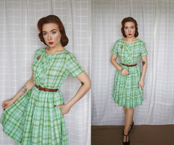 AS IS Vintage genuine 1950s 1960s green white ging