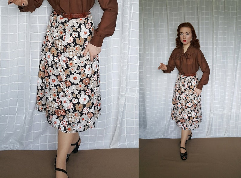 New Ladies Full A-line Cotton Abstract Floral Skirt Vintage 1930/'s 40/'s style