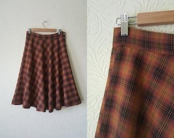 Vintage plaid swing skirt - 1940s style skirt - autumn skirt - mustard plaid skirt - size UK10/12