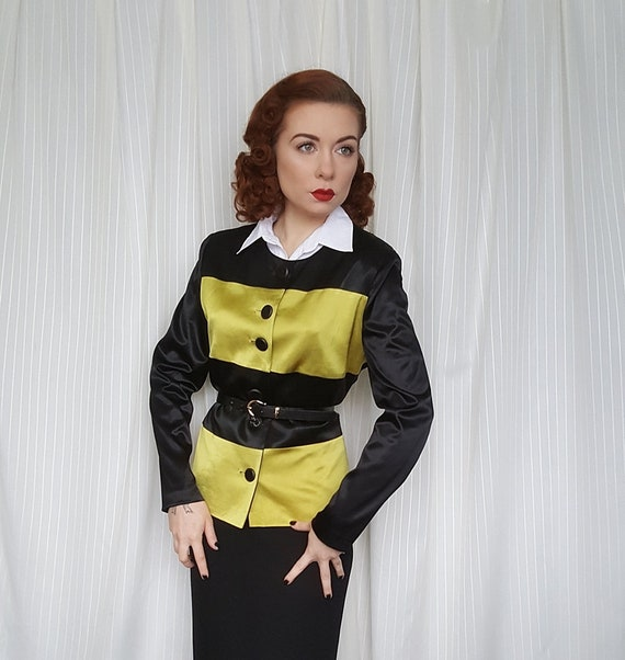 Vintage 1940s style black chartreuse yellow color