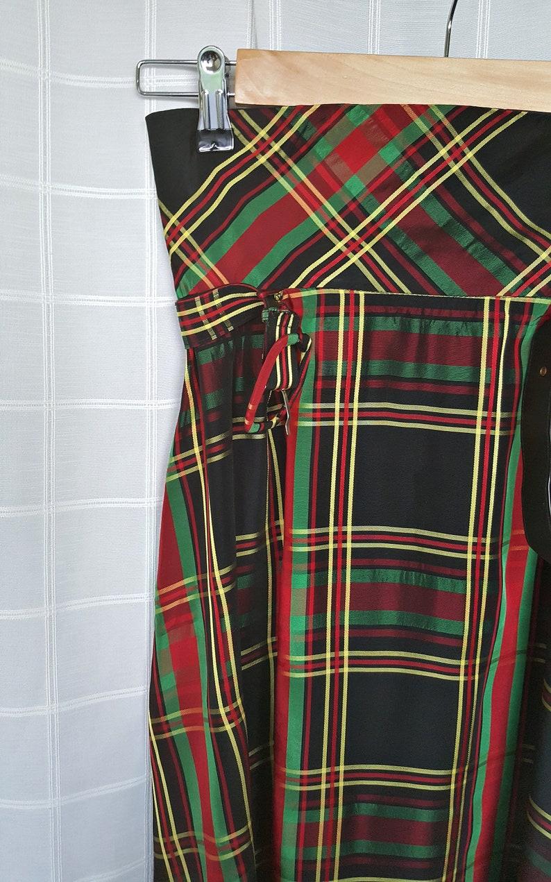 SHE AND SKY Crepe Burgundy Plaid Long Sleeve Oversized Tunic Top Wih Pockets