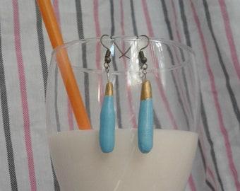 Cute   Beach   Summer Earrings   Turquoise Earrings   Blue Earrings   Gold Earrings   Dangle