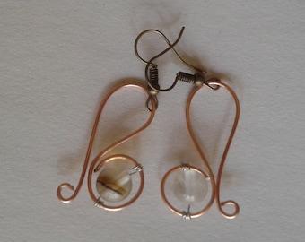 Statement Earrings | Rose Gold | Wire Earrings | Smoky Quartz | Boho | Summer
