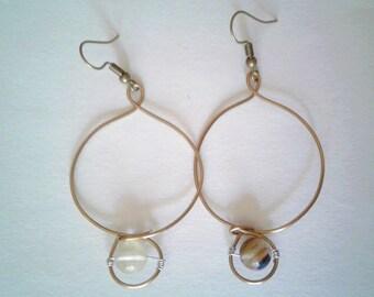 Wire Earrings | Copper Earrings | Smoky Quartz | Elegant | Dainty