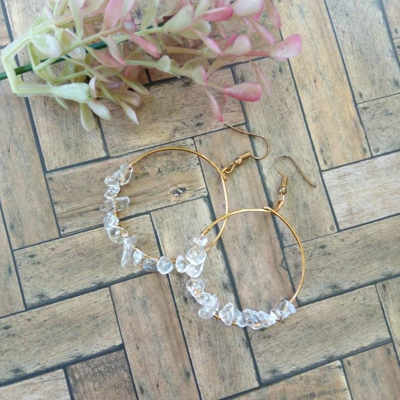 Gemstone Earrings Gold Hoop Earrings Copper Silver Gemstone Chip Earrings Birthstone Chip Gift for Her