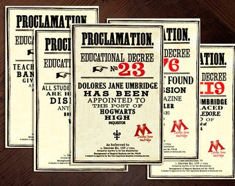 Harry Potter Educational Decrees (Proclamations) Printable Pack (High Quality PDF) | 100% Screen (Movie) Accurate Prop | Digital File