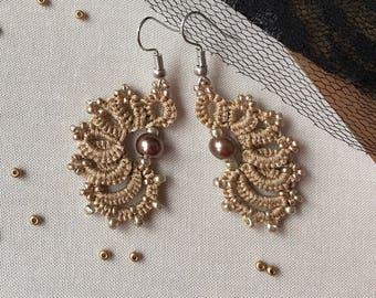 Tatted jewerly, Beige tatted earring, Tatting earrings, lace earrings, tatted earrings, beaded earrings, tatting jewerly, Lace, Earring