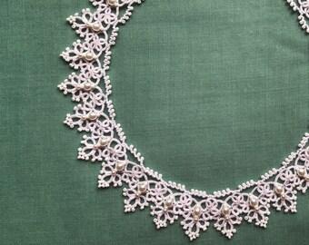 Wedding Lace, Tatting necklace, Bridal Necklace, Tatted necklace, Tatting jewelry, Wedding jewelry, Lace necklace, Statement tatting jewelry