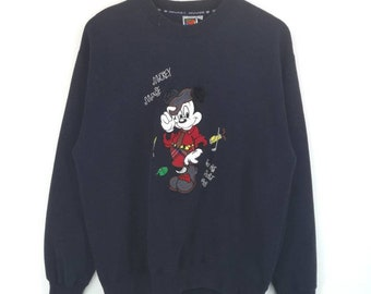 3d00710e6d16 Mickey Unlimited tag mickey mouse big embroidered logo crewneck pullover  sweatshirt   cartoon network   disney   fashion style   Medium size
