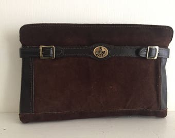 Brown Suede Clutch with Knight