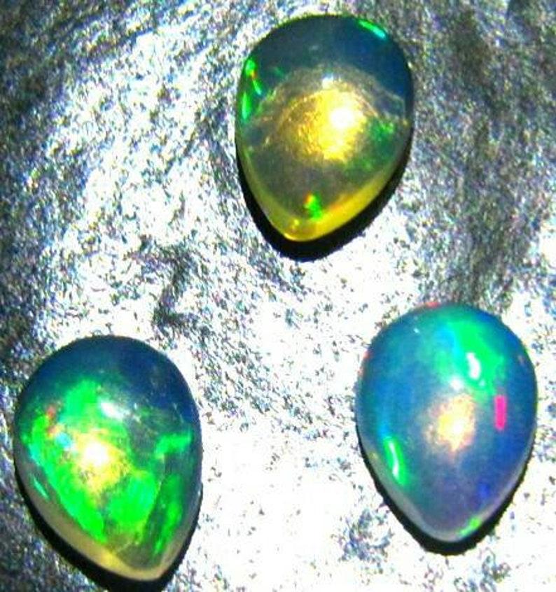 natural Ethiopian opal 3 piece lot gemstone 7\u00d75 pear opal cabochon calibrated opal welo opal loose stone opal multi flashy fire opal loose
