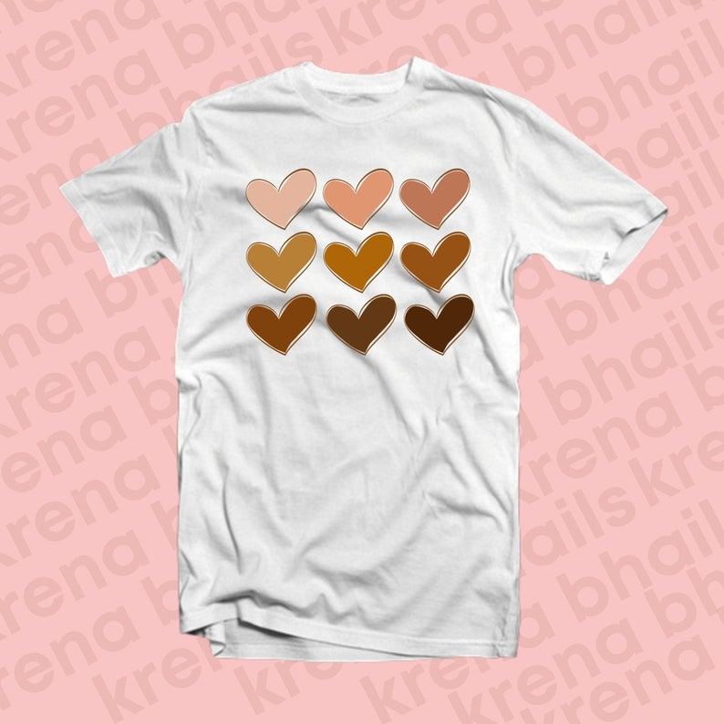 Melanin Hearts / Melanin Hearts Shirt / Melanin / Brown Hearts White