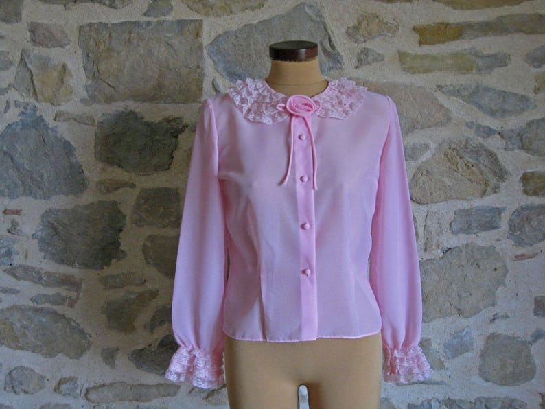 b80aaa96 60s pink blouse with long lace ruffle sleeves and collar size | Etsy