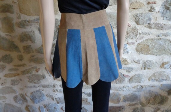 Scallop blue and beige suede leather mini skirt, 6