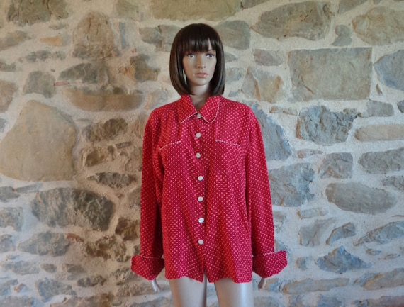 Lolita Lempicka blouse, pyjama style top, red and