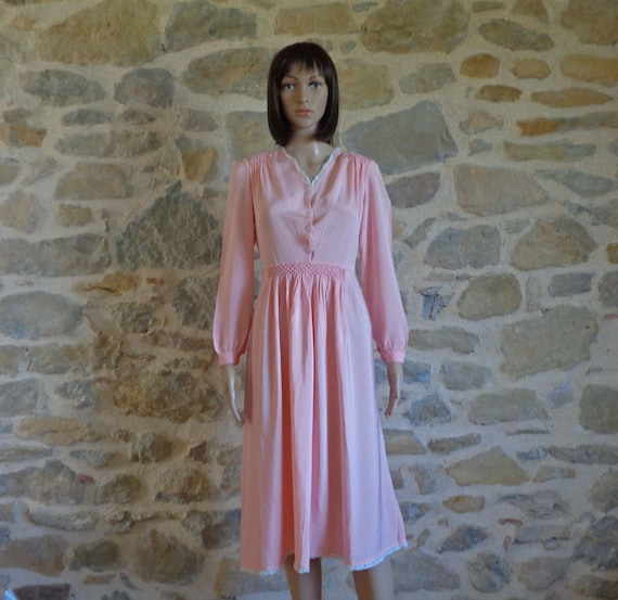 1930s pink silk dress with hand smocking, vintage