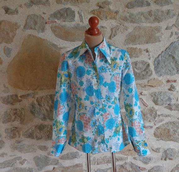 1970s dagger collar floral blouse sz m