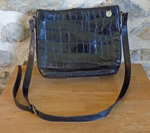 Mulberry black leather shoulder bag, vintage cross