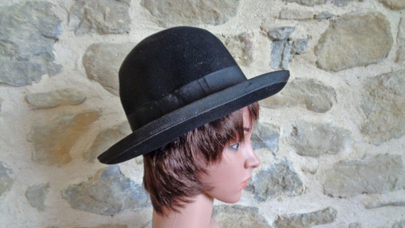 Black bowler hat, antique French wool felt mens de