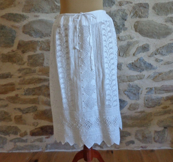 Provencal knit underskirt, antique hand crochet wh