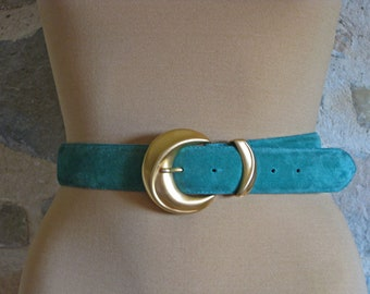 Green suede women's belt with gold buckle, high waisted chunky belt