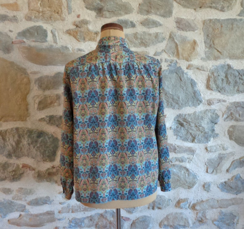 vintage French fashion 80s patterned oversize blouse with shoulder pads by Solfin