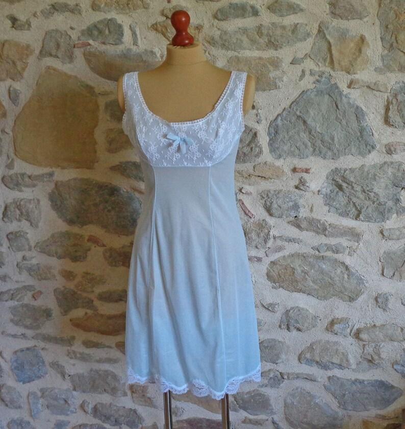 Blue dress slip with white lace size FR44 UK12 US8