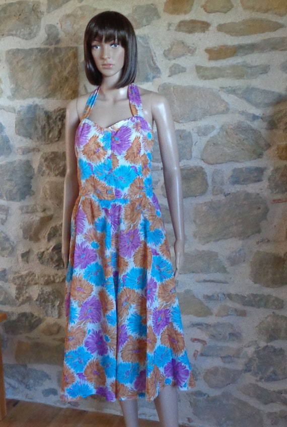 50s floral halter neck dress, handmade French vint