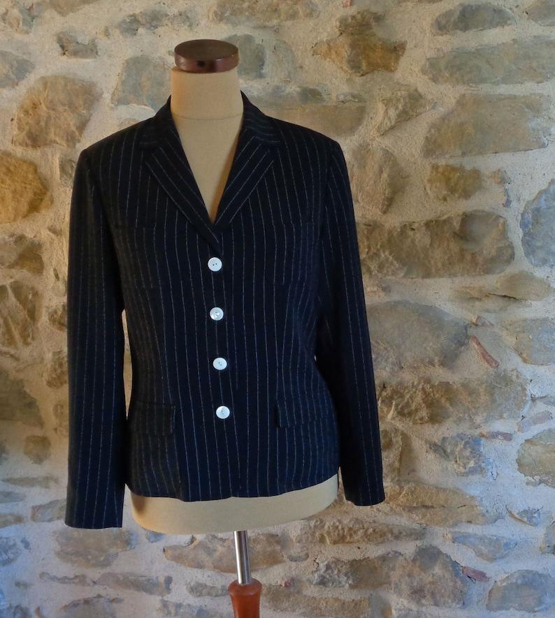 d0830a682f1 Cacharel black pin striped jacket designer vintage French | Etsy