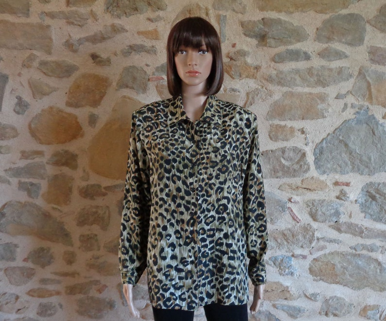 9584a355962fb 80s leopard print silky blouse secretary s blouse with