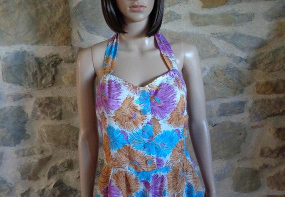 50s floral halter neck dress, handmade French vin… - image 2