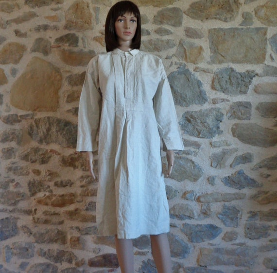 French mans smock, long white linen shirt or night