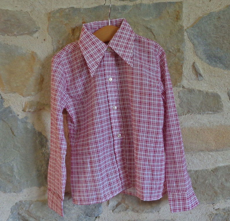70s red checkered girl/'s blouse size FR 6 NOS French top
