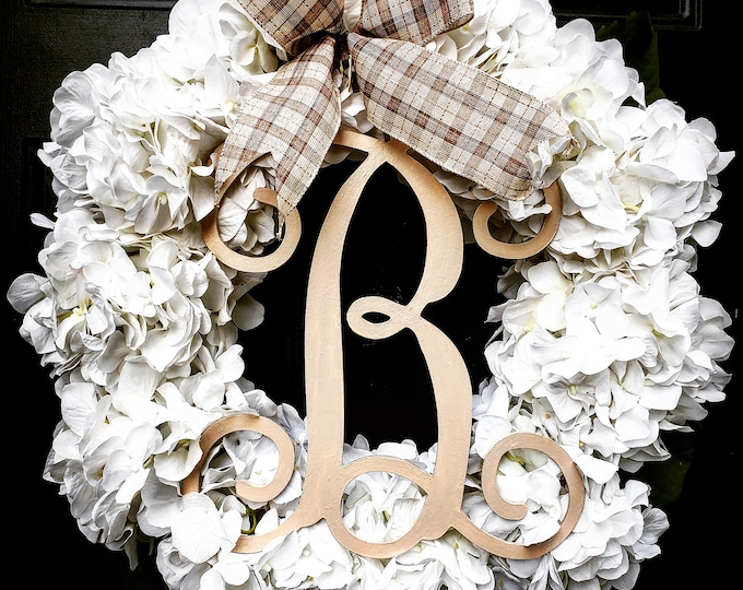 Featured listing image: FREE LOCAL SHIPPING !Farmhouse Winter Monogram Wreath
