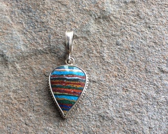 Rainbow calsilica silver pendant