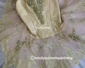 Professional Pink Gold Lace Platter Ballet Tutu