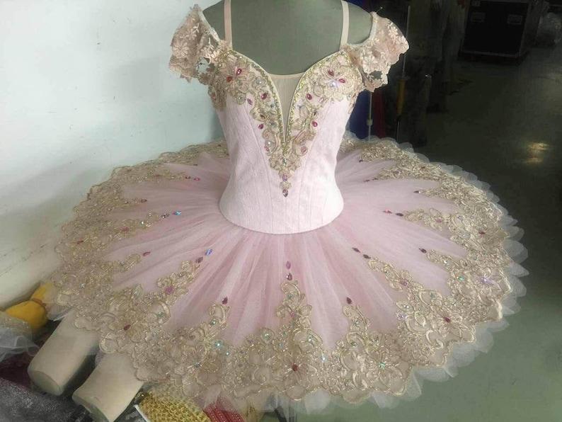 040d998cd PK-005 Professional Pink Gold Lace Platter Ballet Tutu Aurora