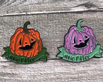 Halloween | #NoFilter Ugly Pumpkin | Halloween, Pumpkin | Stocking Filler Gift | Lapel Pin, Badge |