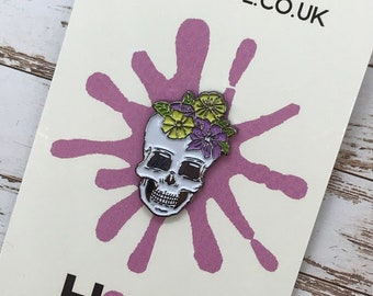 Flower Crown Skull Enamel Pin, Lapel Pin | Floral Gift for Girls Guys | Stocking Filler Gift | Lapel Pin, Badge |
