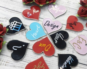 Personalised PICK YOUR Love Heart Enamel Pin | Customised Pin Badge | Mothers Day Gift
