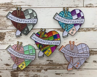 Procraftinator Enamel Pin   Sewing, Knitting, Craft   Five Variations