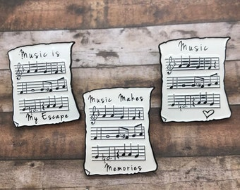 Music Sheet Enamel Pin | Music, Heart, Musician | Three Variations| Stocking Filler Gift | Lapel Pin, Badge |