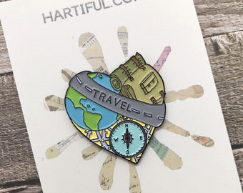 Travel Inspired Enamel Pin | Wanderlust, Backpacking | Stocking Filler Gift | Lapel Pin, Badge |